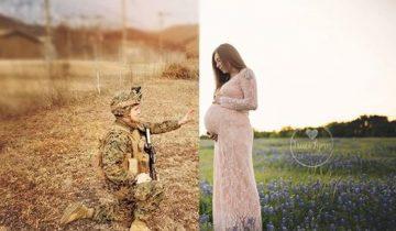 Хоть ее муж и был далеко, она придумала, как сделать семейное фото с ним и будущим ребенком