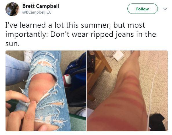 Летнее солнышко играет злую шутку с любителями рваных джинсов