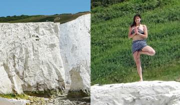 Запредельная глупость: женщина занялась йогой на краю рушащейся скалы