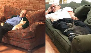 Новый кумир Интернета: старик, который дремлет с кошками в приюте для животных