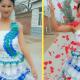Невеста сама создала свадебное платье из пластиковых бутылок