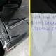 Мужчина увидел, что его машину поцарапали, но перестал злиться, когда увидел записку на лобовом стекле