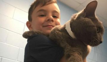 Маленький мальчик выбрал самого грустного кота в приюте