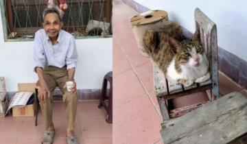 97-летний дедушка тайно ушел из дома, но его кошка не оставила хозяина